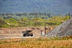 Truck in open pit Royalty Free Stock Photography