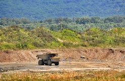 Truck in open pit royalty free stock image