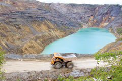 Truck in open pit Royalty Free Stock Photos