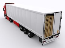 Truck with open trailer. Loaded trailer of an truck Royalty Free Stock Photo