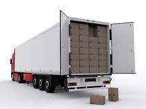 Truck with open trailer Stock Photography