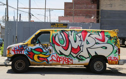 Truck painted with graffiti at East Williamsburg in Brooklyn Royalty Free Stock Images