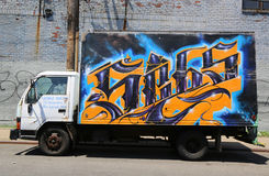 Truck painted with graffiti at East Williamsburg in Brooklyn Stock Image