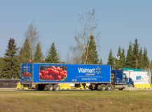 A truck parked at a rest area in northern canada Royalty Free Stock Photography