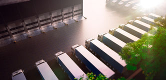 Truck parking. Freight Stock Images