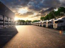 Truck parking. Freight. 3d render royalty free illustration
