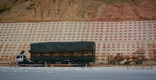A truck parking on mountain road near Huu Nghi Border Gate in Lang Son, Vietnam Royalty Free Stock Image
