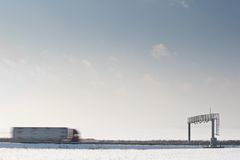 Truck passing trhough a toll gate Royalty Free Stock Photo