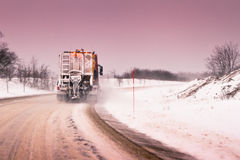 Truck plowing snow Royalty Free Stock Image