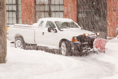 Truck Plowing Snow Royalty Free Stock Photography