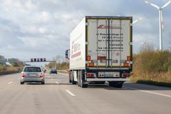 Truck from polish forwarder Omega Pilzno drives on  german motorway A2 Stock Photo