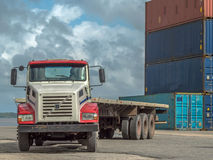 Truck in port Stock Photo