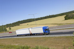 Truck in profile on highway Royalty Free Stock Image