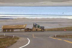 Truck pulling a trailer, Alberta, Canada Stock Photography