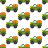 Truck with pumpkins pattern Royalty Free Stock Photography