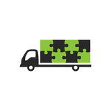 Truck and puzzle logo. Minimal illustration of a truck and puzzle that can be used for a logo or as isolated graphic element Royalty Free Stock Photo