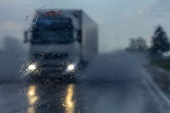 Truck in the rain royalty free stock image