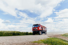 truck rally car MAZ driving on dust road Royalty Free Stock Image