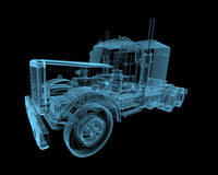 Truck. X-ray blue transparent isolated on black Stock Images