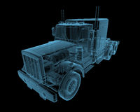 Truck. X-ray blue transparent isolated on black Stock Photos