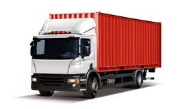 Truck with red container. Truck delivers freight in the form of container, isolated on white stock illustration