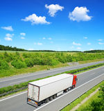 Truck. Red Truck on the highway Stock Photography