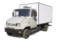 Truck with refrigerator wagon. ZIL – russian truks (with clipping path for easy background removing if needed Stock Photos