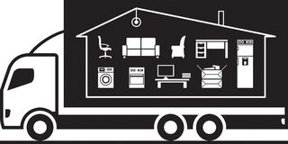 Truck relocating household belongings. To the new address - vector illustration Royalty Free Stock Photo