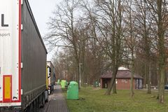 Truck rest stop autobahn germany by the road stock images