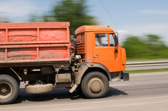 The truck rides at high speed Stock Images