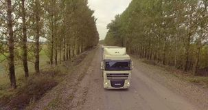 Truck rides on the road through the alley of trees. Truck rides on the road through stock video footage