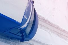 Truck rides on a snowy road. Top view Stock Image
