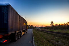 Truck on road. Speed and delivery concept Stock Images