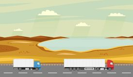 Truck on the road. Autumn rural landscape with lake. Heavy trailer truck. Logistic and delivery concept. Stock Images