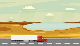 Truck on the road. Autumn rural landscape with lake. Heavy trailer truck. Royalty Free Stock Image