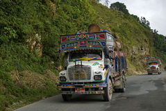 Truck on the road, Bhutan Royalty Free Stock Image