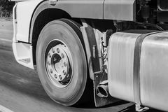 Truck on road close-up. Big white truck on road close-up Royalty Free Stock Photos