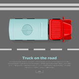 Truck on Road Conceptual Flat Vector Web Banner. Truck on road conceptual web banner. Truck with tanker goes on highway flat vector illustration. Industrial Royalty Free Stock Photos