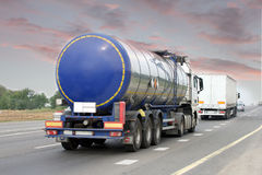 Truck on the road. Container on the big highway. transport loads Stock Image