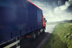 Truck on the road 3D Rendering Stock Photos