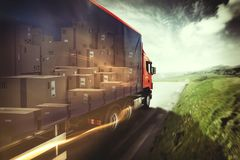 Truck on the road. 3D Rendering Royalty Free Stock Image