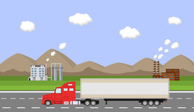 Truck on the road. Delivery concept. Stock Image