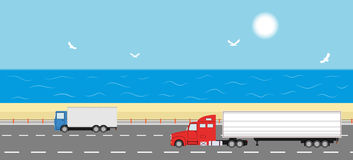 Truck on the road. Delivery concept. Stock Photos