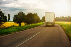 Truck on the road. Truck driving on the road in Ukraine stock images