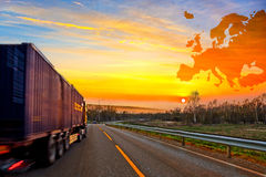 Truck on road royalty free stock photos