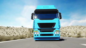 Truck on the road, highway. Transports, logistics concept. 3d rendering. Royalty Free Stock Photo