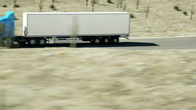 Truck on the road, highway. Transports, logistics concept. super realistic animation with physiks motion. stock footage