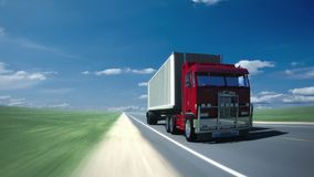 Truck on the road 2 (Loop). A heavy truck on his way. Seamless loop stock footage