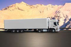 Truck on road montain. In the afternoon Stock Image