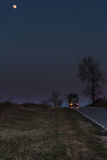 Truck on road and moon Royalty Free Stock Images